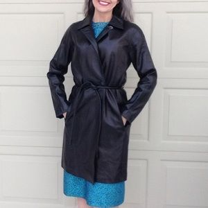 buttery soft leather ELLEN TRACY black coat XS S
